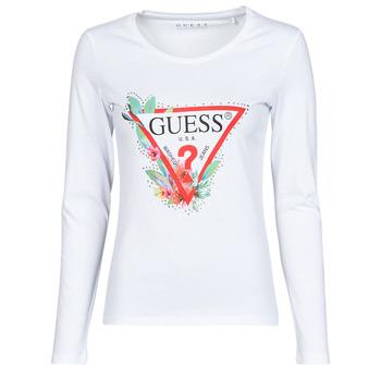 tekstylia Damskie T-shirty z długim rękawem Guess LS CN NELLI TEE Biały
