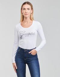 tekstylia Damskie T-shirty z długim rękawem Guess LS CN RAISA TEE Biały