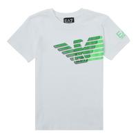 tekstylia Chłopiec T-shirty z krótkim rękawem Emporio Armani EA7 THAMIA Biały / Zielony