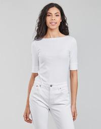tekstylia Damskie T-shirty z długim rękawem Lauren Ralph Lauren JUDY-ELBOW SLEEVE-KNIT Biały