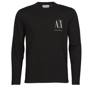 tekstylia Męskie T-shirty z długim rękawem Armani Exchange 8NZTPL Czarny