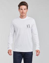 tekstylia Męskie T-shirty z długim rękawem Armani Exchange 8NZTPL Biały