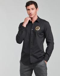 tekstylia Męskie Koszule z długim rękawem Versace Jeans Couture SLIM PRINT V EMBLEM GOLD Czarny / Złoty