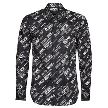 tekstylia Męskie Koszule z długim rękawem Versace Jeans Couture SLIM PRINT WARRANTY Czarny / Biały
