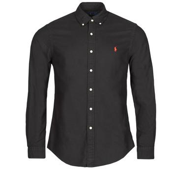 tekstylia Męskie Koszule z długim rękawem Polo Ralph Lauren CAMISETA Czarny