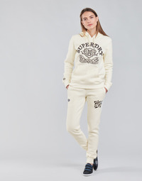 tekstylia Damskie Spodnie dresowe Superdry PRIDE IN CRAFT JOGGER Ecru