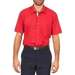 tekstylia Męskie Koszule z krótkim rękawem Pierre Cardin CH MC POPELINE UNIE - OPPO RAYURE INTERIEUR COL & POIGNET Różowy / Czerwony