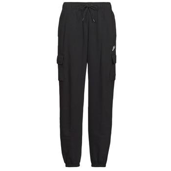 tekstylia Damskie Spodnie dresowe Nike W NSW ESSNTL FLC MR CRGO PNT Czarny / Biały