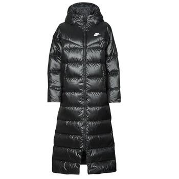 tekstylia Damskie Kurtki pikowane Nike W NSW TF CITY HD PARKA Czarny / Biały