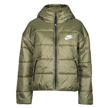 tekstylia Damskie Kurtki pikowane Nike W NSW TF RPL CLASSIC HD JKT Kaki / Biały