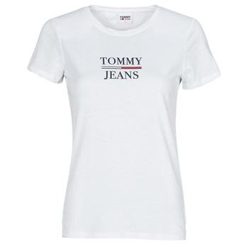 tekstylia Damskie T-shirty z krótkim rękawem Tommy Jeans TJW SKINNY ESSENTIAL TOMMY T SS Biały