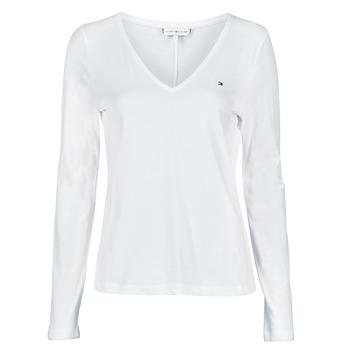 tekstylia Damskie T-shirty z długim rękawem Tommy Hilfiger REGULAR CLASSIC V-NK TOP LS Biały
