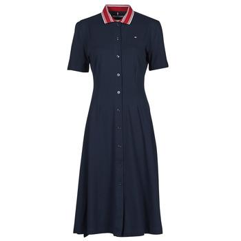 tekstylia Damskie Sukienki krótkie Tommy Hilfiger PIQUE F&F MIDI POLO DRESS SS Marine