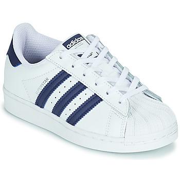 Buty Dziecko Trampki niskie adidas Originals SUPERSTAR C Biały / Niebieski