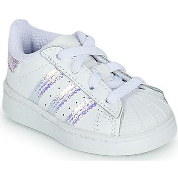 Buty Dziewczynka Trampki niskie adidas Originals SUPERSTAR EL I Biały / Tęczowy