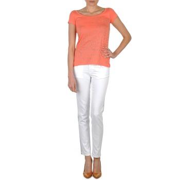 tekstylia Damskie Jeansy slim fit Calvin Klein Jeans JEAN BLANC BORDURE ARGENTEE Biały