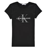 tekstylia Dziewczynka T-shirty z krótkim rękawem Calvin Klein Jeans VOYAT Czarny