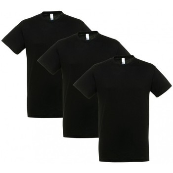 tekstylia T-shirty z krótkim rękawem Sols PACK 3 CAMISETAS NEGRAS COTTON Negro