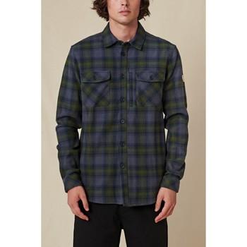 tekstylia Męskie Koszule z długim rękawem Globe Chemise  Wanderer Shacket bleu/vert