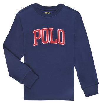 tekstylia Chłopiec T-shirty z długim rękawem Polo Ralph Lauren METIKA Marine