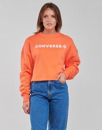 tekstylia Damskie Bluzy Converse EMBROIDERED WORDMARK CREW Pomarańczowy