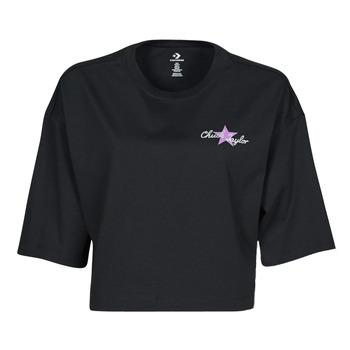 tekstylia Damskie T-shirty z krótkim rękawem Converse CHUCK INSPIRED HYBRID FLOWER OVERSIZED CROPPED TEE Czarny