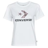 tekstylia Damskie T-shirty z krótkim rękawem Converse STAR CHEVRON HYBRID FLOWER INFILL CLASSIC TEE Biały