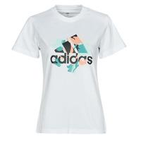 tekstylia Damskie T-shirty z krótkim rękawem adidas Performance FLORAL GFX Biały