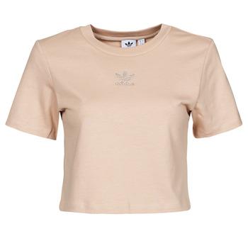 tekstylia Damskie T-shirty z krótkim rękawem adidas Originals CROPPED  TEE Beżowy