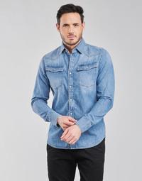 tekstylia Męskie Koszule z długim rękawem G-Star Raw 3301 SLIM SHIRT LS Niebieski