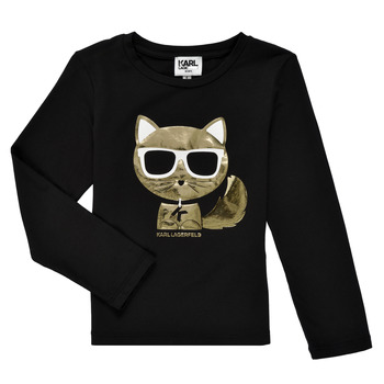 tekstylia Dziewczynka T-shirty z długim rękawem Karl Lagerfeld AMETHYSTE Czarny