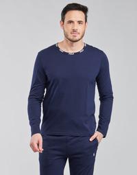 tekstylia Męskie T-shirty z długim rękawem Polo Ralph Lauren CREEW SLEEP TOP Marine