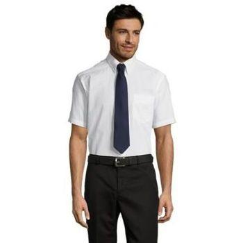 tekstylia Męskie Koszule z krótkim rękawem Sols BRISBANE FIT Blanco Blanco
