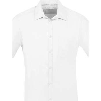 tekstylia Męskie Koszule z krótkim rękawem Sols BRISTOL FIT Blanco Blanco