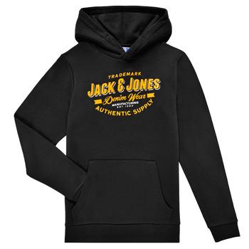 tekstylia Chłopiec Bluzy Jack & Jones JJELOGO SWEAT HOOD Czarny