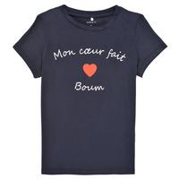 tekstylia Dziewczynka T-shirty z krótkim rękawem Name it NKFKLORA SS TOP Marine