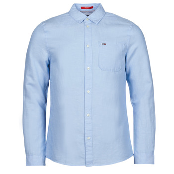 tekstylia Męskie Koszule z długim rękawem Tommy Jeans TJM LINEN BLEND SHIRT Niebieski