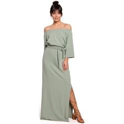 tekstylia Damskie Sukienki długie Be B146 Off- shoulder maxi dress - pistachio