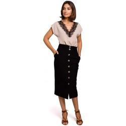 tekstylia Damskie Topy / Bluzki Style S206 Top bez rękawów z koronkowym dekoltem - czarny