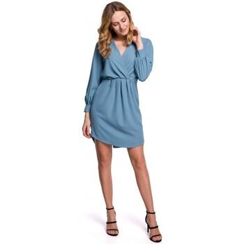 tekstylia Damskie Sukienki krótkie Makover K044 Sukienka drapowana - niebieski