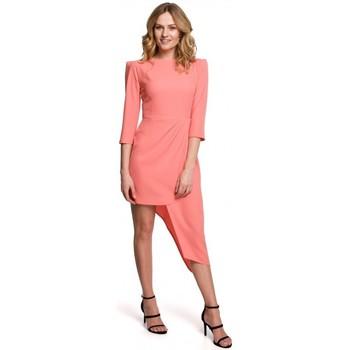 tekstylia Damskie Sukienki krótkie Makover K047 Sukienka asymetryczna - pomarańczowy