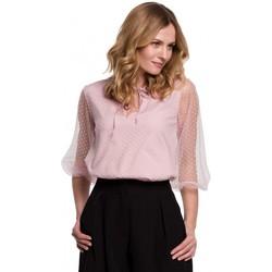 tekstylia Damskie Topy / Bluzki Makover K057 Bluzka w kropki z flokami - krepa różowa
