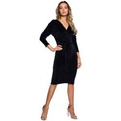 tekstylia Damskie Sukienki krótkie Moe M561 Velvet Wrap Top Dress - granatowy