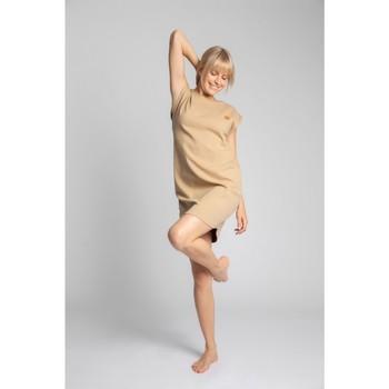 tekstylia Damskie Sukienki krótkie Lalupa LA033 Bawełniana sukienka z prążkowanego materiału - cappuccino