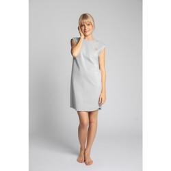 tekstylia Damskie Sukienki krótkie Lalupa LA033 Sukienka z prążkowanej bawełny - jasnoszary