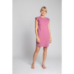 tekstylia Damskie Sukienki krótkie Lalupa LA033 Bawełniana sukienka z prążkowanego materiału - wrzosowa