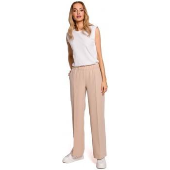 tekstylia Damskie Spodnie z lejącej tkaniny / Alladynki Moe M570 Spodnie z marszczonymi nogawkami - beżowy