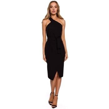 tekstylia Damskie Sukienki długie Moe M572 Sukienka z pojedynczym paskiem - czarna