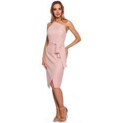 tekstylia Damskie Sukienki długie Moe M572 Sukienka z pojedynczym paskiem - pudrowy