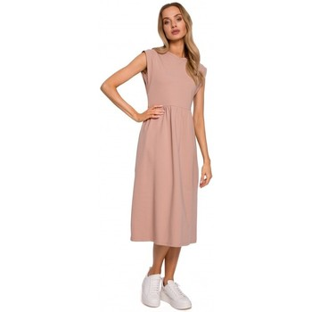 tekstylia Damskie Sukienki długie Moe M581 Sukienka bez rękawów z wysoką talią - mocca